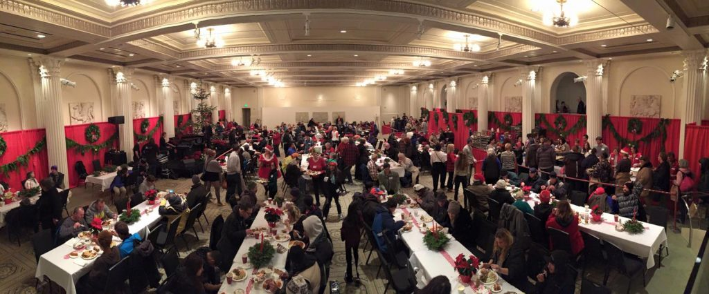 Ballroom view of Christmas Dinner